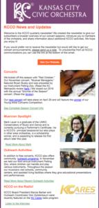 KCCO Newsletter Screenshot
